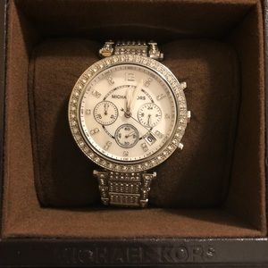 Micheal Kors women's silver crystal watch